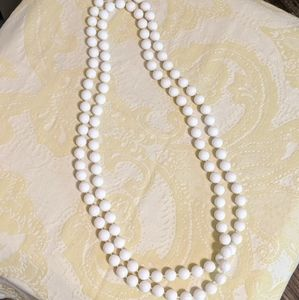 """Vintage bead necklace white 25"""" long 1960s or 70s"""